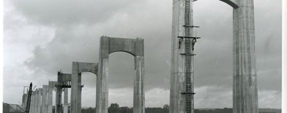 Photo of the bridge under construction