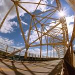 Wide angle photo of the bridge