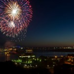 Fireworks over St. Mary's River & International Bridge