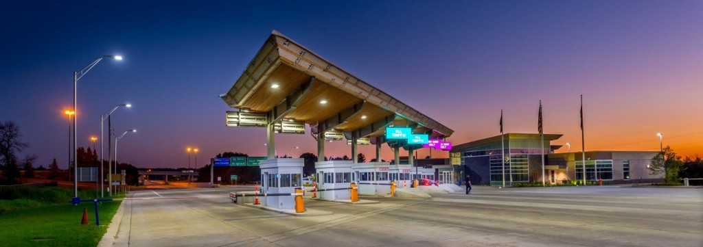 The award-winning Sault Ste. Marie International Bridge toll plaza project shown as it was nearing completion. (MDOT Photo)